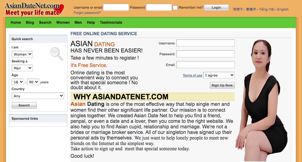 AsianDateNet main page