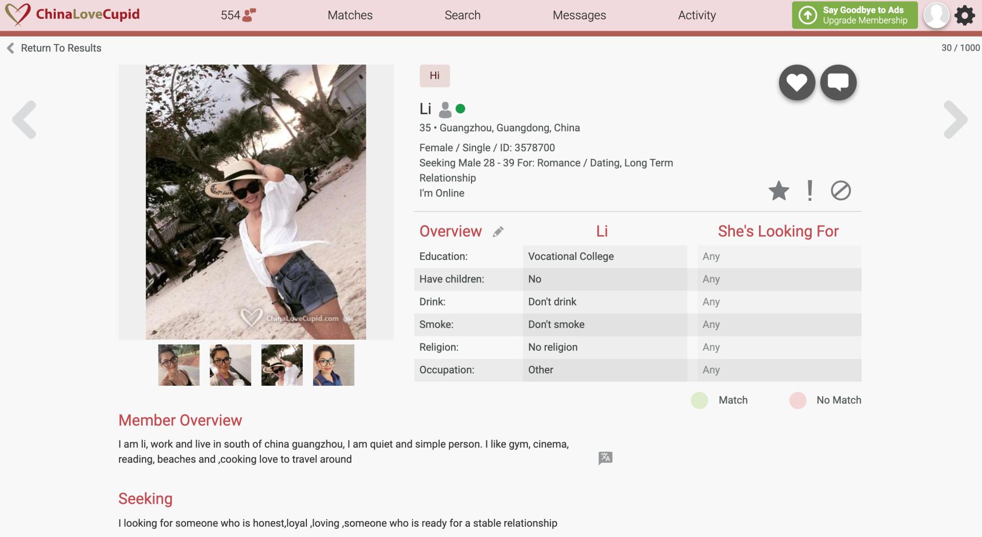 ChinaLoveCupid girl profile