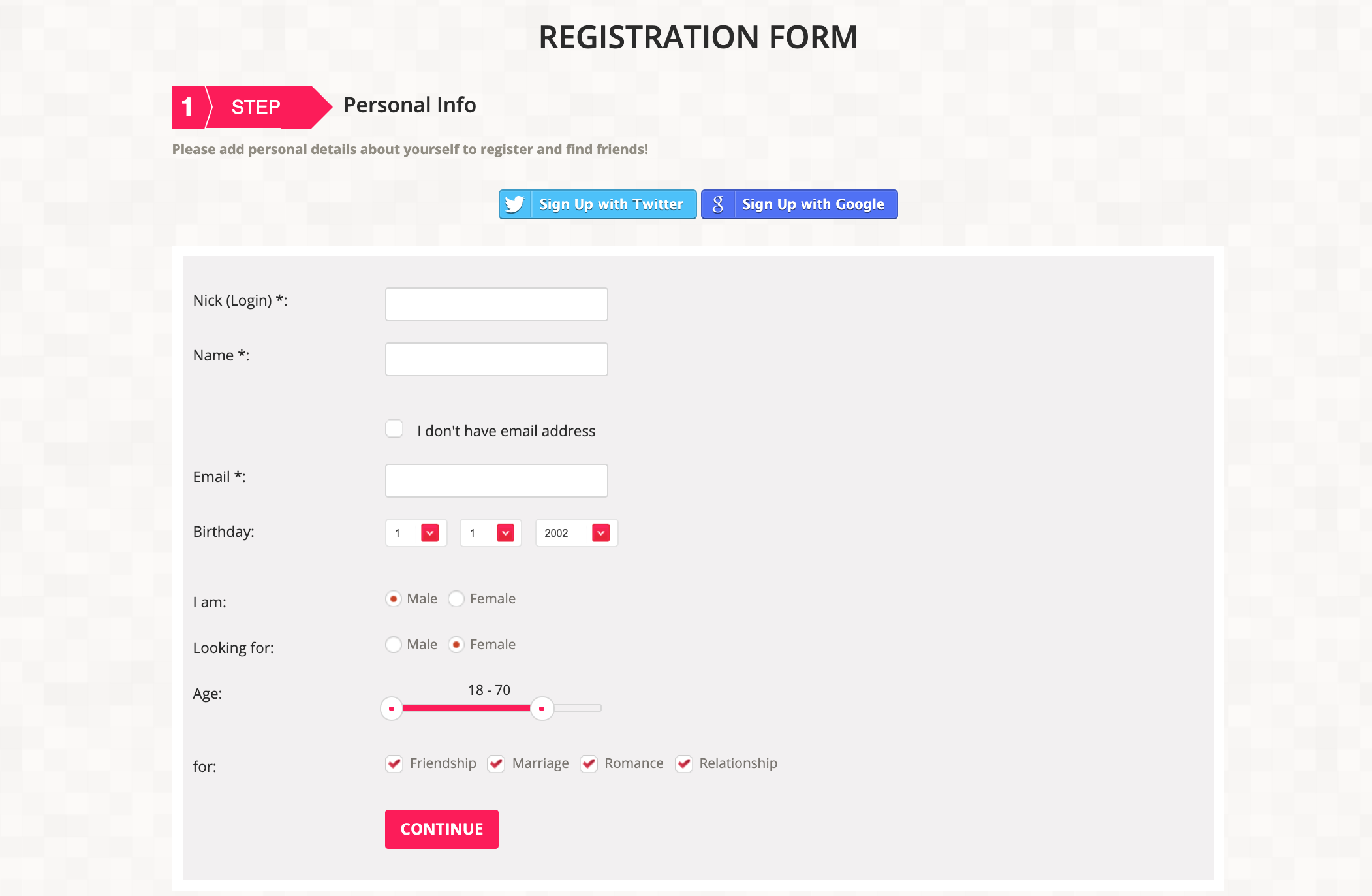 Lovein.Asia registration form