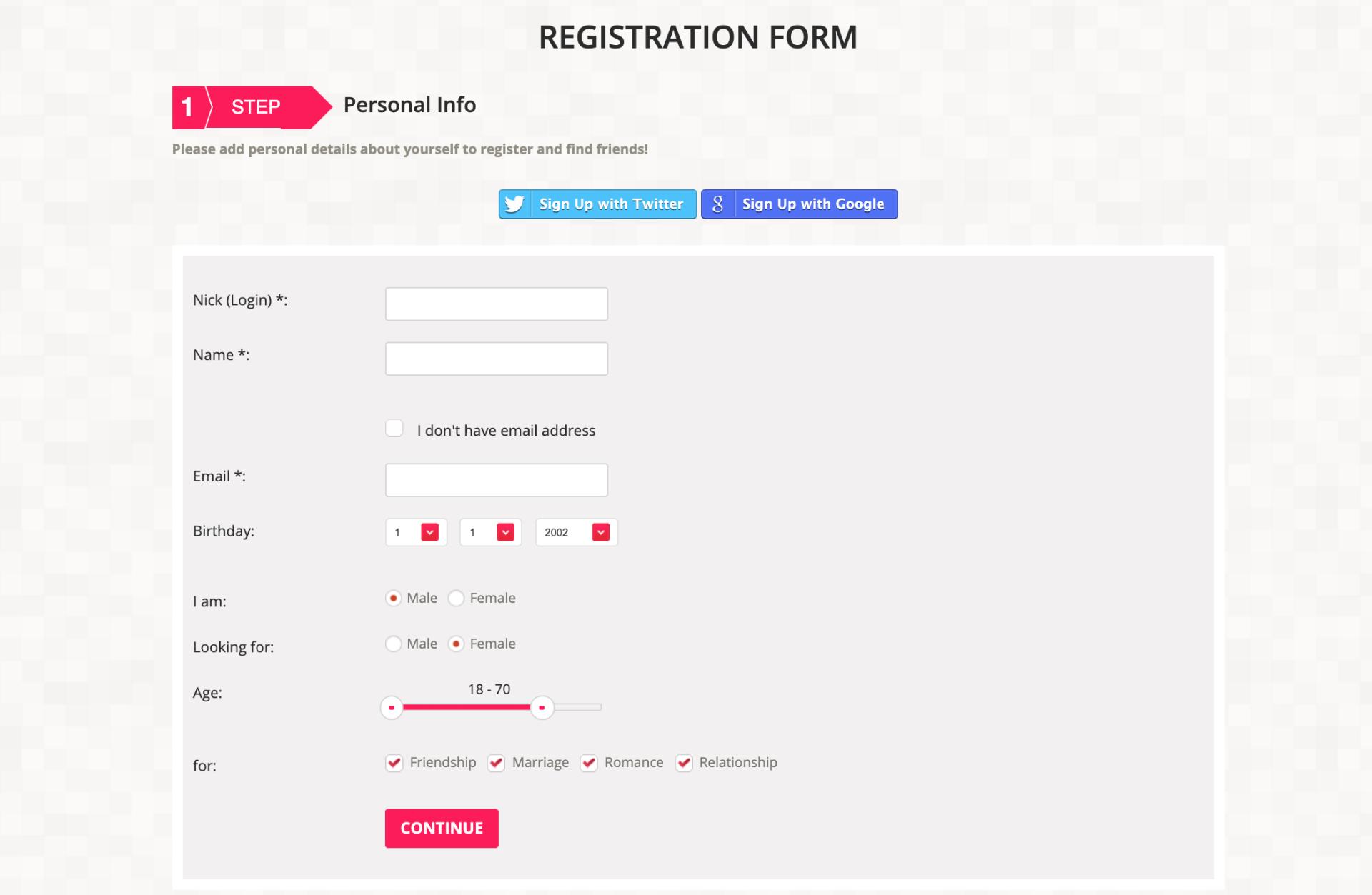 Lovein.Asia registration form